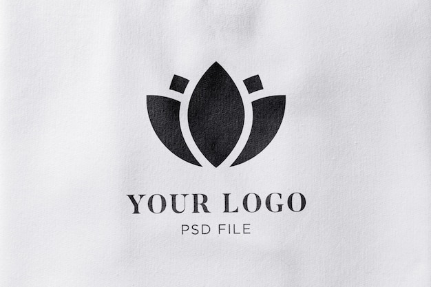 Maquette de logo effet texture tissu