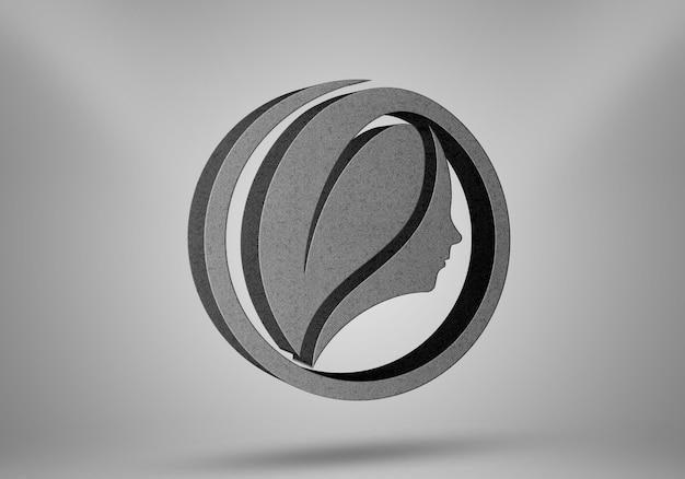 Maquette de logo d'effets de pierre de perspective réaliste 3d