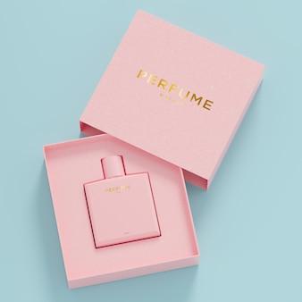 Maquette de logo d'emballage rose de bouteille de parfum rose pour le rendu 3d de l'identité de la marque