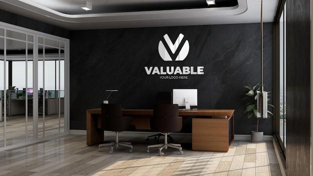 Maquette de logo d'entreprise 3d dans le bureau du directeur roo