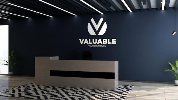 Maquette de logo d'entreprise 3d dans le bureau de réceptionniste de bureau
