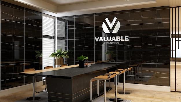 Maquette de logo d'entreprise 3d dans l'espace de réunion du bureau avec un intérieur design de luxe