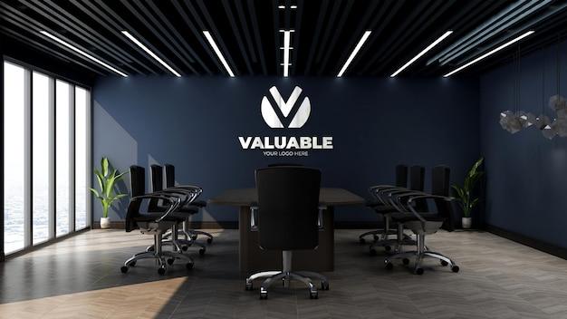 Maquette de logo d'entreprise 3d dans l'espace de réunion du bureau