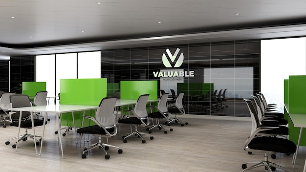 Maquette de logo d'entreprise 3d dans l'espace de travail de bureau avec bureau et chaise