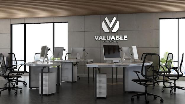 Maquette de logo d'entreprise 3d dans l'espace de travail de bureau avec un intérieur de design industriel