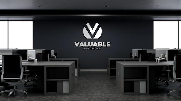 Maquette de logo d'entreprise 3d dans l'espace de travail de bureau moderne dans le ciel élevé