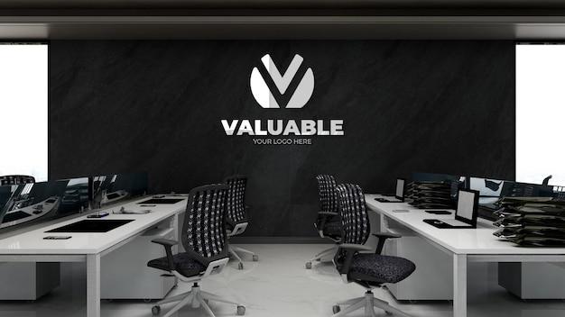 Maquette de logo d'entreprise 3d dans l'espace de travail de bureau avec pierre noire wal