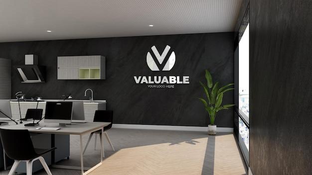 Maquette de logo d'entreprise 3d dans l'espace de travail ou le lieu de travail d'entreprise