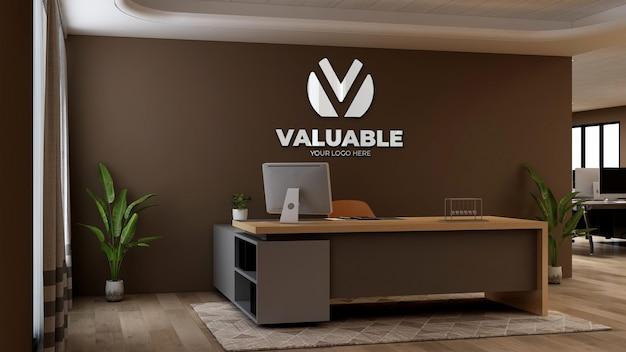 Maquette de logo d'entreprise 3d dans la réception du bureau ou dans la salle de réception