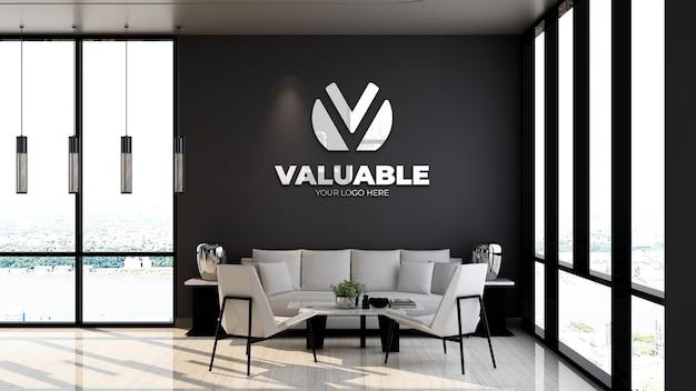 Maquette de logo d'entreprise 3d dans la salle d'attente du hall du bureau avec canapé et design minimaliste