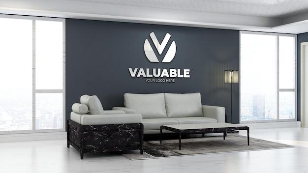 Maquette de logo d'entreprise 3d dans la salle d'attente du hall du bureau