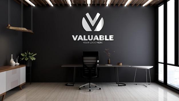 Maquette de logo d'entreprise 3d dans la salle du directeur ou du patron avec table et chaise