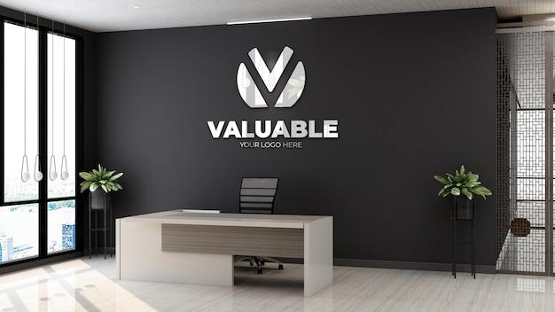 Maquette de logo d'entreprise 3d dans la salle de réception du bureau en bois
