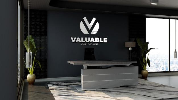 Maquette de logo d'entreprise 3d dans la salle de réception ou de réception moderne