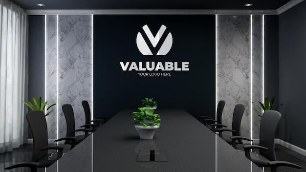 Maquette de logo d'entreprise 3d dans une salle de réunion de bureau noir moderne