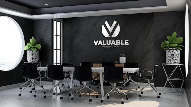 Maquette de logo d'entreprise 3d dans la salle de réunion du bureau avec mur de pierre noire