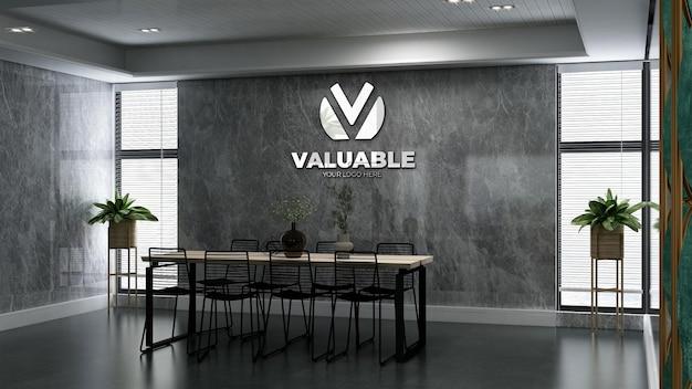 Maquette de logo d'entreprise 3d dans la salle de réunion du bureau