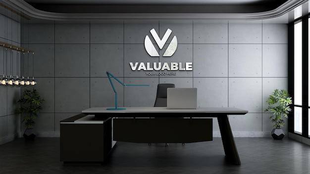 Maquette de logo d'entreprise 3d réaliste dans l'espace du directeur de bureau avec un intérieur de design industriel