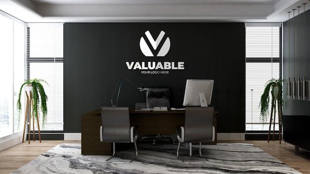 Maquette de logo d'entreprise 3d réaliste dans l'espace du directeur de bureau avec un intérieur design de luxe