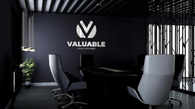 Maquette de logo d'entreprise 3d réaliste dans un espace de réunion de bureau moderne