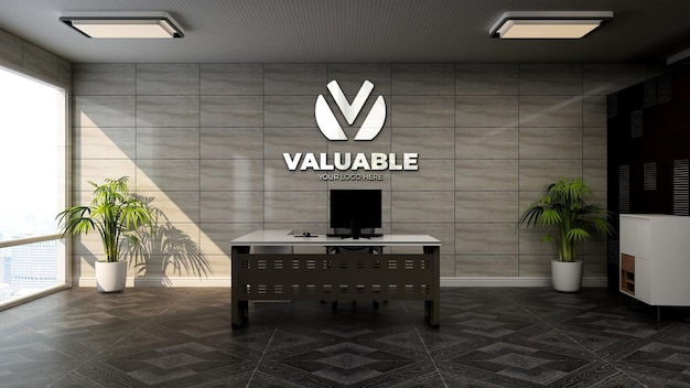 Maquette de logo d'entreprise 3d réaliste dans la salle du directeur de bureau moderne