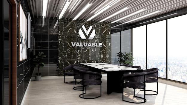 Maquette de logo d'entreprise 3d réaliste dans la salle de réunion d'affaires de bureau