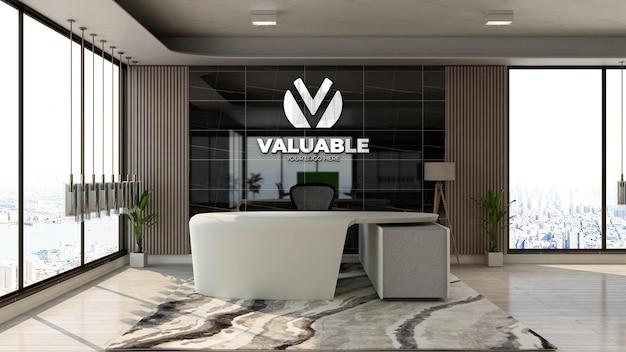 Maquette de logo d'entreprise 3d réaliste dans la zone de réception du bureau avec un intérieur design de luxe