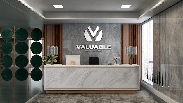 Maquette de logo d'entreprise en argent 3d dans la salle de réception du bureau avec thème en bois et pierre