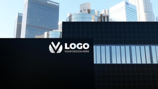 Maquette de logo d'entreprise de construction 3d réaliste