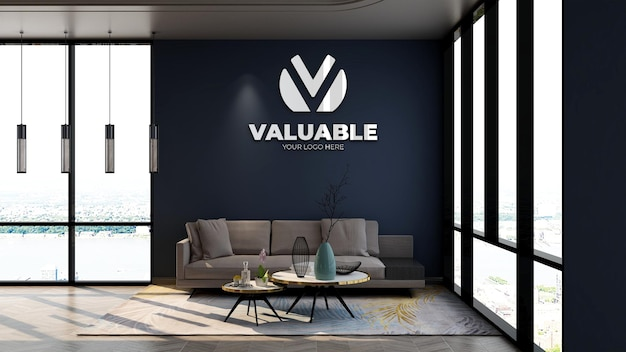 Maquette de logo d'entreprise murale 3d dans la salle d'attente du hall du bureau avec wal marine