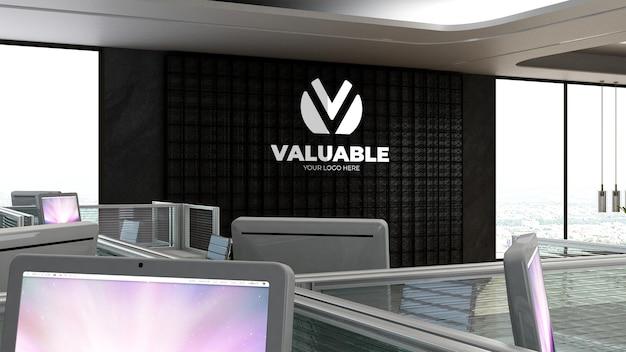 Maquette de logo d'entreprise réaliste en argent 3d dans l'espace de travail de bureau ou le lieu de travail