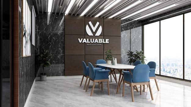 Maquette de logo d'entreprise réaliste dans l'espace de réunion de bureau de luxe