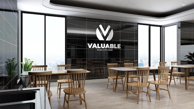 Maquette de logo d'entreprise réaliste dans le garde-manger du bureau