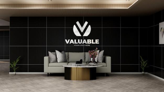 Maquette de logo d'entreprise réaliste dans la salle d'attente du hall du bureau avec canapé