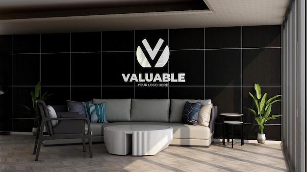 Maquette de logo d'entreprise réaliste dans la salle d'attente du hall du bureau pour se détendre
