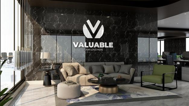 Maquette de logo d'entreprise réaliste dans la salle d'attente du hall du bureau