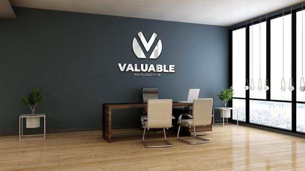 Maquette de logo d'entreprise réaliste dans la salle du directeur de bureau en bois