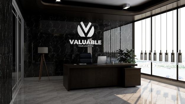 Maquette de logo d'entreprise réaliste dans la salle du directeur de bureau de luxe avec mur noir