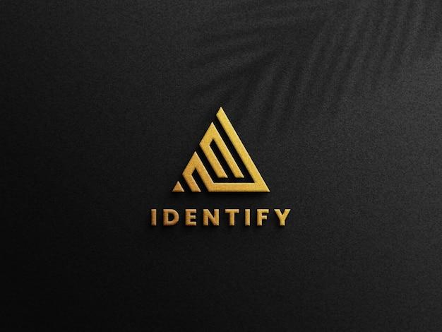 Maquette de logo en feuille d'or de luxe 3d