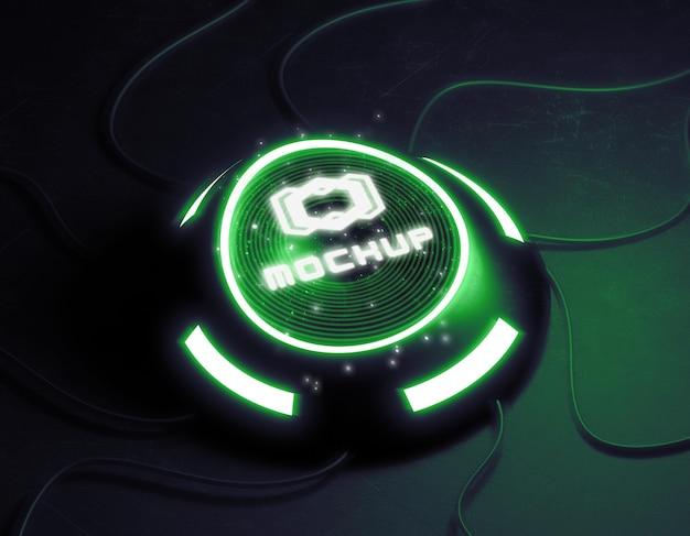 Maquette de logo futuriste dans des lumières vives