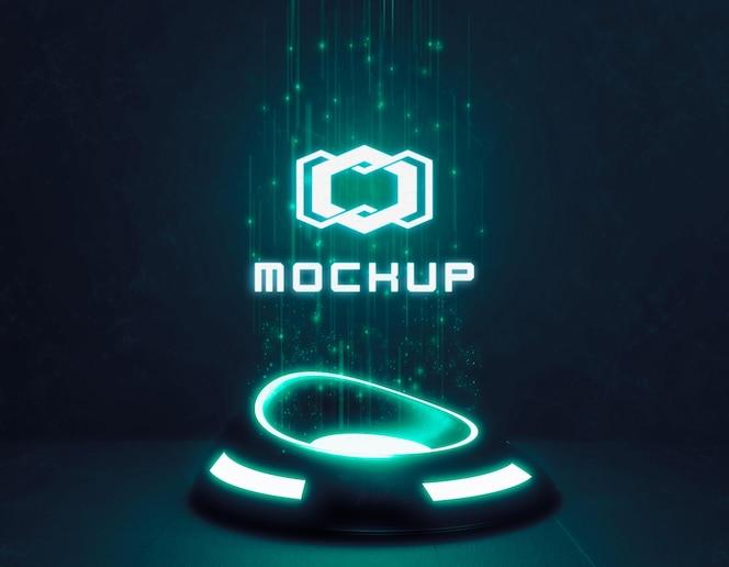 Maquette de logo futuriste en néons