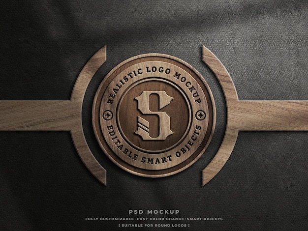Maquette de logo gravé en bois sur une maquette de logo en bois vintage en cuir ancien