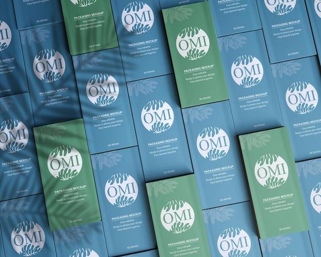 Maquette de logo d'identité de marque de conception d'emballage de boîte en papier