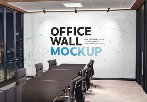 Maquette de logo intérieur de mur de bureau vierge