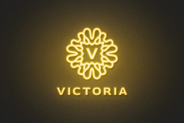 Maquette de logo jaune néon