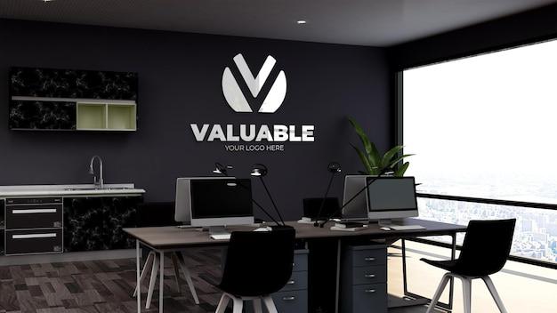 Maquette de logo sur le lieu de travail du bureau