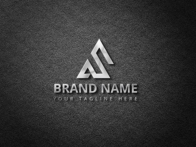 Maquette de logo avec logo 3d argenté