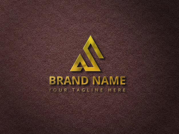 Maquette de logo avec logo 3d doré