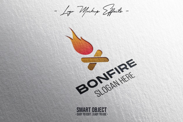 Maquette de logo avec logo bonfire
