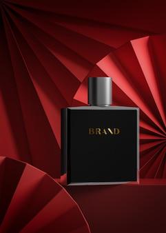 Maquette de logo de luxe sur bouteille de parfum